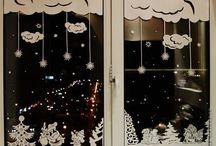 Karácsonyi, téli ablak