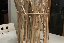 Lampade in legno e specchi .... fatti da me