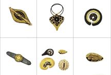 Black and Gold jewelry collection / Ancient style jewelry collection, gold embroidery,precious stones,leather,silk.