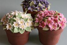 Vasos de flores bolos