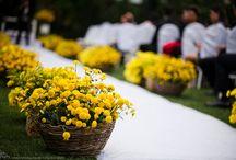 Decoração amarela com flores do campo / Inspiração para o casamento da Ana e do Silvio que fiz como decoradora na Art Assessoria & Eventos na Casa Tras-os-Montes e Alto Douro. Uma decoração simples com flores campestres todos em tom de amarelo.