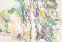 Ağaçlar ve yol-yarı soyut kara kalem ve sulu boya