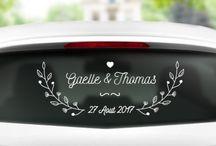 Stickers mariage / Sticker pour les voiture de mariés, idée déco mariage