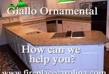 GIALLO ORNAMENTAL on White cabinets / GIALLO ORNAMENTAL-on white cabinets  Visit us at http://www.fireplacecarolina.com To See Our GRANITE COUNTERTOP PACKAGE DEAL