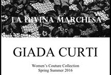 """GIADA CURTI - La Divina Marchesa - Haute Couture Collection presentation S.S.2016 Alta RomaAlta Moda - The St.Regis Hotel Rome - January 29,2016 at 7pm / Women's Couture Collection Spring-Summer 2016     La Divina Marchesa   Friday 29th January 7 pm The St. Regis Rome   """"We need to live our lives as if we were making a piece of art. The life of a man of intellect must be his own artwork. Real superiority lies all there"""". Gabriele D'annunzio   Tall, thin, pale skin against heavy makeup, Marquise Luisa Casati spent her entire life trying to turn herself into a piece of art through her eccentric lifestyle and high impact look.   The city of Venice and the Art Dèco streamline fired up some sort of magic inside her soul. She was the inspiring Muse behind Boldini and one of D'annunzio's many lovers who defined her """"Corè"""", queen of hell, as she perfectly embodied a virtuous muddle of odness, occultism and magic. Her tall and masculine figure celebrated the creations made for her by Paul Poiret, Ertè and Mariano Fortuny, giving us an eccentric, provocatory image, that takes to the exreme the rules of a dying fashion out of which newness and originality had raised.   Giada Curti's """"Woman"""" spring/summer 2016 collection comes into life inspired by the futuristic ferment that iconic """"Divina  Marchesa"""" had triggered with her life.   A dark lady with an eternal allure, black, golden striped eyes, and a feline gaze made even more vibrant and huge by wise belladonna eye drops applications. An extraordinary woman whose vibrant and unique style is still a precious source of inspiration.   This collection features veiled and impalpable transparencies and unusual overlays of elaborated fabrics like unexpected """"rebrode"""" laces on satin nightgowns.   Intriguing and sensual, especially when paired with ethereal white, the use of black results into a carefully sought-after simplicity. Grogré knots and silk lanyards surround the neck, while veiled ponchos alternated with emerald green detail"""