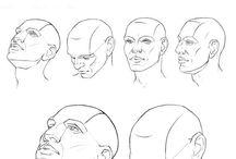 Portraits / gezeichnete u. gemalte Gesichter / Köpfe + Anleitungen