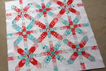 aqua and red quilts
