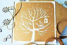 Christmas linocut cards / Vianočné linorytové pohľadnice