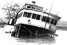PS Gem - 1948 Sunk at Cal Lal, NSW. / Paddle-steamer Gem's working life - in October 1948 she sank at Cal Lal.