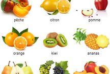 planches de fruits et légumes