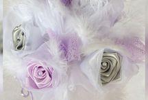 Bouquet de Mariée en Satin / Bouquet de Mariée en satin mauve et gris de Ladecodesylvie Créatrice.