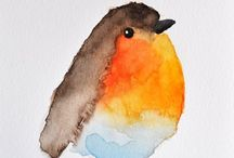 Aquarelles oiseaux