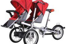 Amazing baby twins and mother bike folding