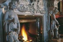 Beautiful cozy fireplace