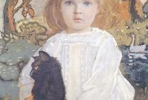 Niños con gatos. Pintura.