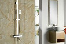GOWE Widespread Wall Mounted Chrome Polish Tub Shower Thermostatic Shower Chrome Finish Faucet