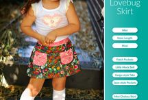 Girls Lovebug A-line Skirt Sewing Pattern / Girls A-line Lovebug Skirt - Mini, Knee Length & Maxi. Sew a mini skirt, maxi skirt or knee length skirt. Includes lots of options like jean-style front pockets, patch pockets, mock button front, side tabs with buttons, elastic back waist, flat front waistband.