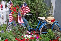American Flag Love / I love adding American flags to my home, art and garden year round.
