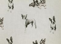 Boston Terriers / Painted in pen and ink Nikki has over a dozen different doggy patterns to chose from, with many more in the pipline! Printed onto a cotton/linen base cloth the fabrics are suitable for curtains, blinds and cushions. A great gift for any dog lover!