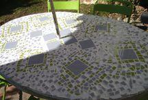 Mesa Guell / Mosaico de azulejos para Mesa de piedra, tipo parque Guell de Gaudi