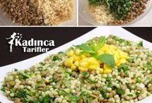 Yeşil mercimekli salata