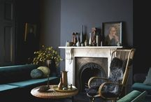 DARK INTERIORS / Interior home decor with dark colour palettes. Navy walls, black flooring, velvet and wood
