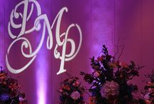 Monogram Designs / We offer custom designed monograms for projection on your dance floor, walls, or above head tables. Atmosphere Events can also adapt monograms from invites, save the date cards, or place setting cards.