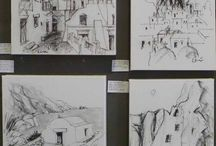 my paintings of Amorgos / my paintings of Amorgos with charcoal on canvas