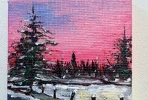 mini canvas board painting