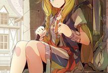 yellow haired anime girl