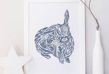 Art Prints / Museum-quality art prints for rustic modern home decor based on original illustrations by Carrie Hendrix.