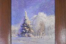 """Картина объемная """"Зимний лес"""" / Картина выполнена в техниках объемный и художественный декупаж. Подрисовка выполнена акриловыми красками  по структурной пасте, которая придает необычный объем картине. Финишное покрытие - воск. Рамка декорирована брашировкой с однократным обжигом. Тонирована водной морилкой и покрыта воском. Имеет красивый шелковистый блеск."""