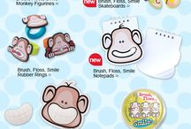 Brush. Floss. Smile. Monkeys are bunches of fun for your patients! / Cute giveaways that remind patients about taking care of their teeth.