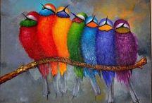 kuşlar akrilik