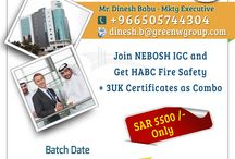 Green World Group - Saudi Arabia / Green World Group's inaugural offer for Nebosh IGC in Saudi Arabia. Join Nebosh IGC and get HABC and with 3 UK certifications absolutely free.. Pay SAR 5500/- only. contact: Dinesh 966505744304.  http://www.greenwgroup.com/course-calendar/saudi-arabia