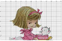 haft krzyżykowy dziewczęce wzory - magic dolls i inne laleczki