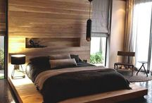 Wood wall decor bed room