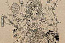 Hindu gods doodle arts