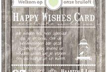 Happy Wishes card / Iedereen is opzoek naar een originele oplossing voor het volgens veel mensen ouderwetse gastenboek. De happy Wishes Cards zijn de perfecte manier om leuke wensen of verhalen van je dierbare verzamelen en bewaren als aandenken aan de bruiloft.