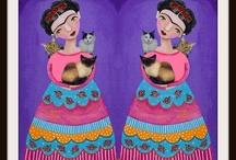 Las dos fridas y mis tres gatitas / Camila, Oda y Catalina
