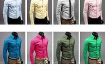 Men Dress Shirt , 100 % Cotton Men's All Occasion Solid Colored Long-Sleeved…