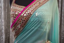 mirror work saree