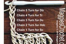 crochet turnings for several d, h, tr crochets