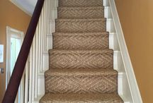 "Hollywood Stair Installation / The term ""Hollywood style"" refers to a specific installation method. The installer is tacking down the carpet directly to the staircase. As you can see, the carpet is wrapped around the edge of the tread, contouring the nosing to meet the riser. The carpet or runner gets stapled under the nose of the stair. / by The Carpet Workroom"
