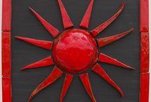 CERAMIC SUN/ WALL DECORATION