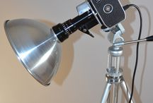 'ZOOM ZOOM ZOOM' FLOOR LIGHT / Free standing floor light of impeccable pedigree. The beautifully engineered Bolex Zoom Reflex P1 8mm movie camera was introduced in 1961. http://www.itsalight.co.uk/ #home #loveit #upcycling #lighting #upcycled #homeinteriors