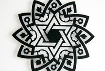 Judaica Magen David / Judaica wall ornament - Metal laser cut - Powder coating painted. 40cm/16 inches - Black matt. Design Jacques Lahitte © Tolonensis Creation judaica.tolonensis.com Made in Poland.
