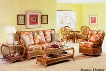 Boston Harbor Twisted Rattan / This very unique and forever durable Rattan sunroom set will last forever. Many fabrics to choose from.