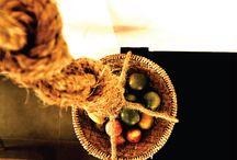 Fruteira Suspensa / Fruteira suspensa feita com sisal e peneira de bambu