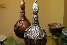 ,botellon decorado con trapillo